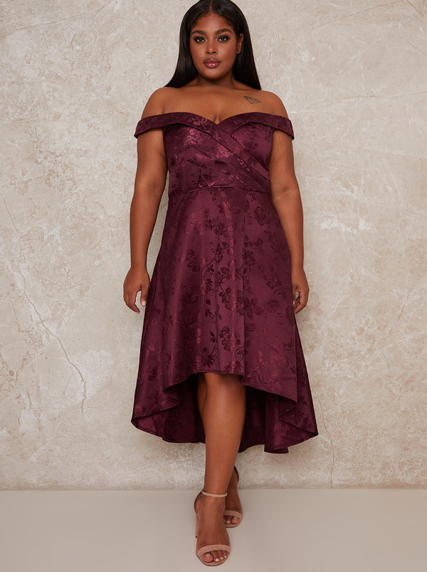 Plus Size Bardot Dip Hem Jacquard Midi Dress in Red
