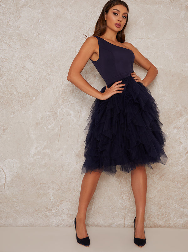 Tulle Ruffle Midi Party Dress in Blue
