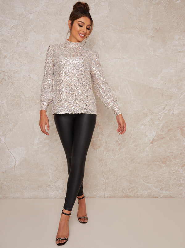 High Neck Sequin Long Sleeve Top in Neutral