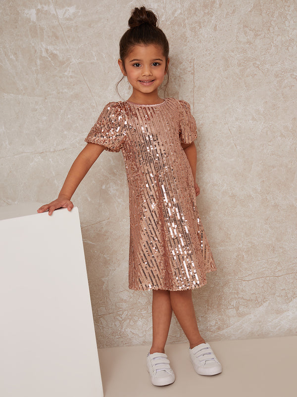 Girls Sequin T-shirt Dress in Rose Gold