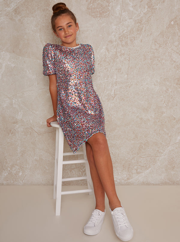 Girls Sequin Shift Party Dress in Multi