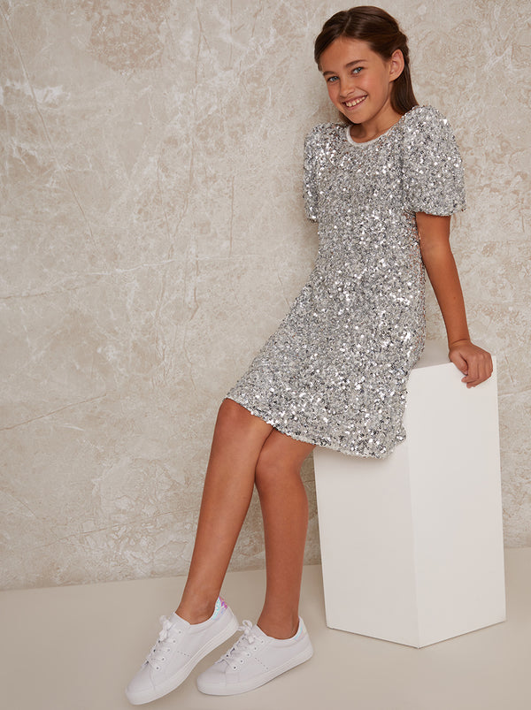 Girls Sequin Shift Dress in Silver