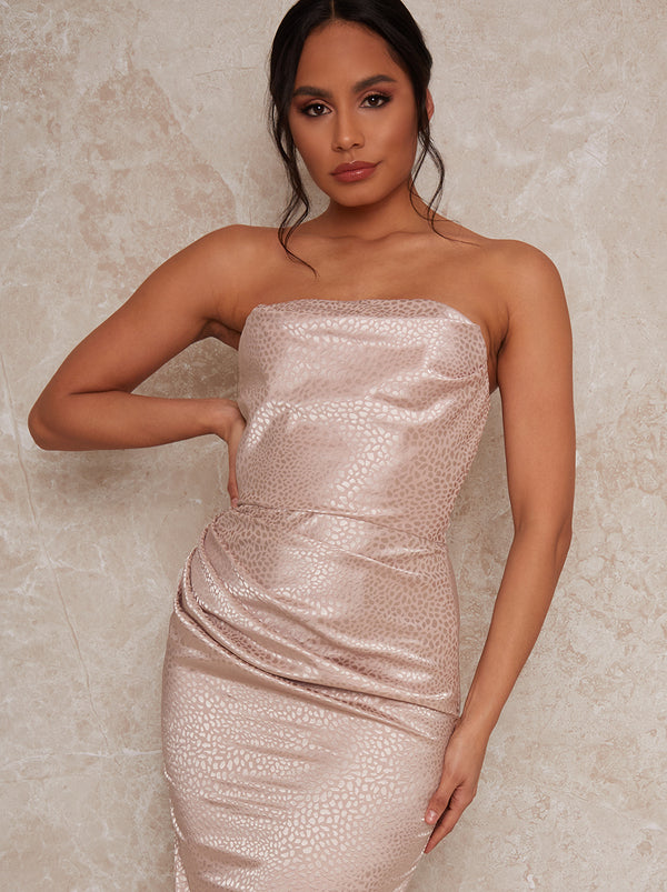 Bardot Satin Finish Maxi Dress in Champagne