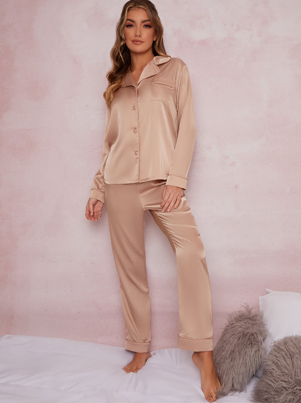 Satin Finish Pyjama Set In Champagne