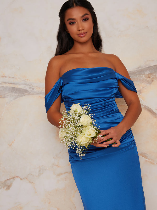 Petite Satin Finish Bardot Bridesmaid Dress in Blue