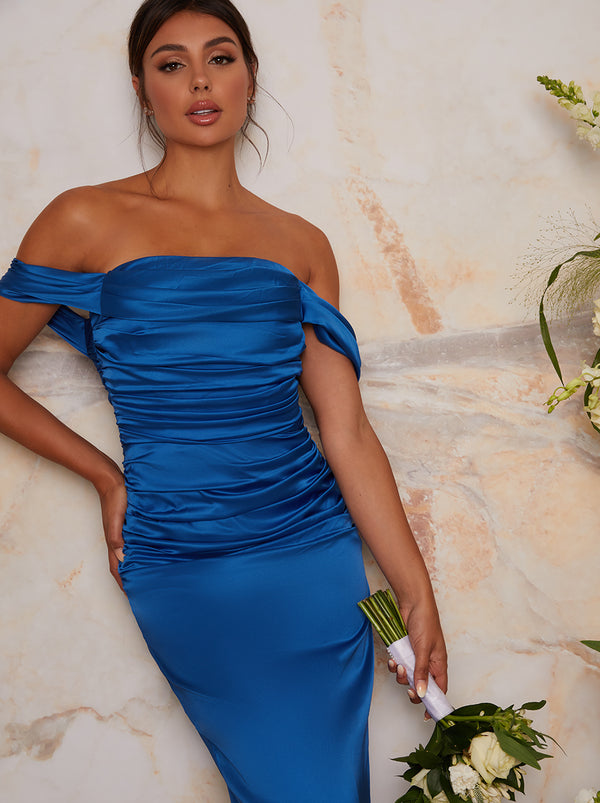 Satin Finish Bardot Bridesmaid Dress in Blue