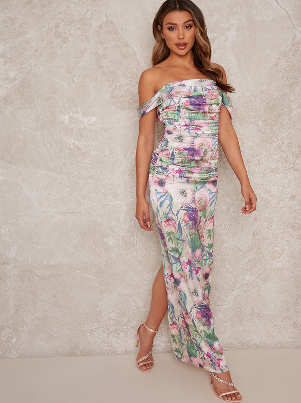 Bardot Floral Print Maxi Dress with Ruching in Multi