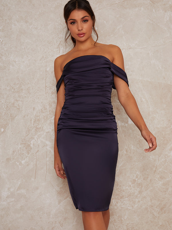 Ruched Bodycon Bardot Midi Dress in Navy