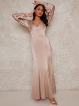 V Neck Balloon Long Sleeve Satin Maxi Dress in Champagne