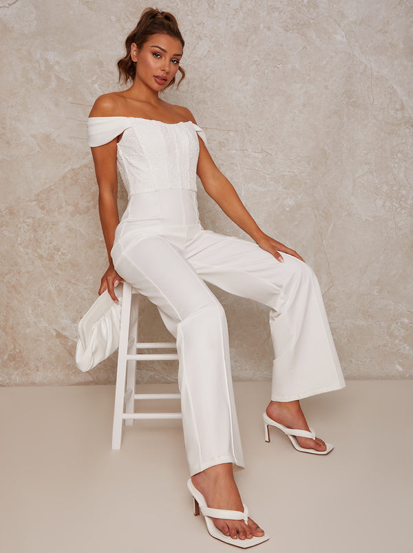 Lace Bardot Wide Leg Jumpsuit in White