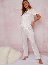 Bridal Satin Finish Pyjama Set in White