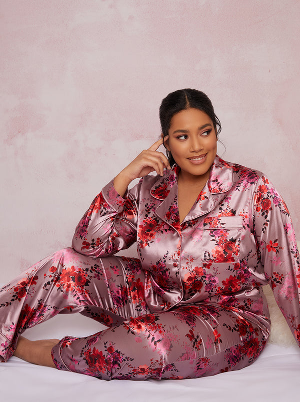 Plus Size Satin Finish Pyjama Set in Pink
