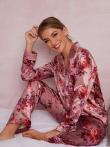 Floral Satin Finish Pyjama Set In Pink