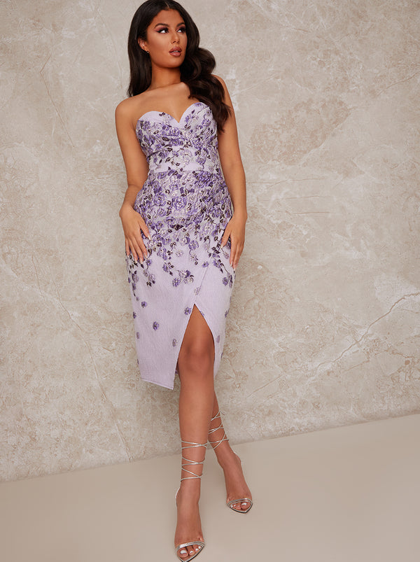 Bandeau Floral Jacquard Bodycon Dress in Purple
