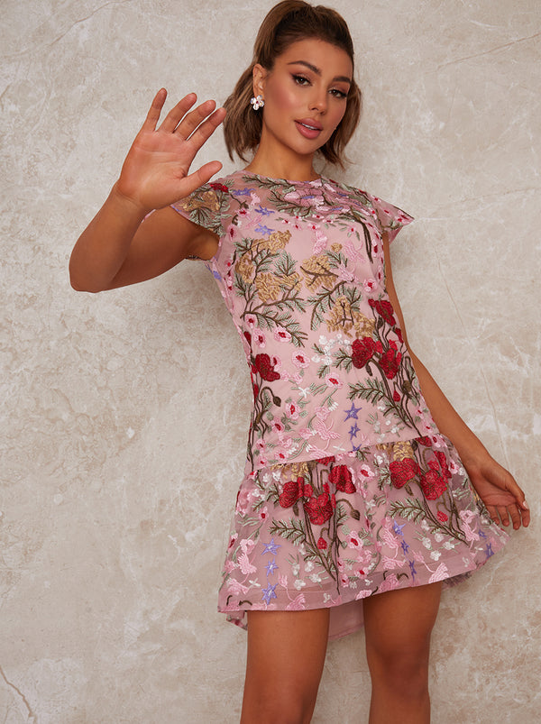 Peplum Embroidered Lace Mini Dress in Pink