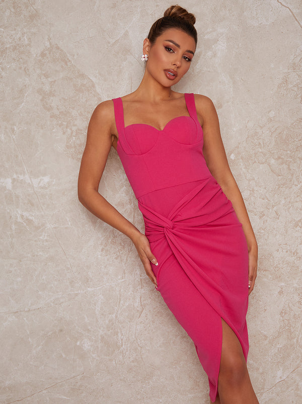 Sleeveless Corset Style Bodycon Dress in Pink
