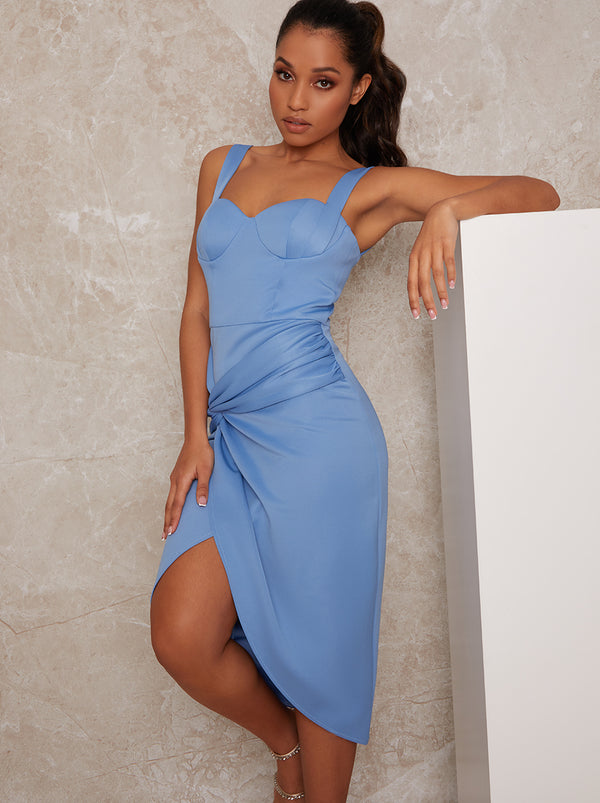 Petite Sleeveless Corset Style Bodycon Dress in Blue