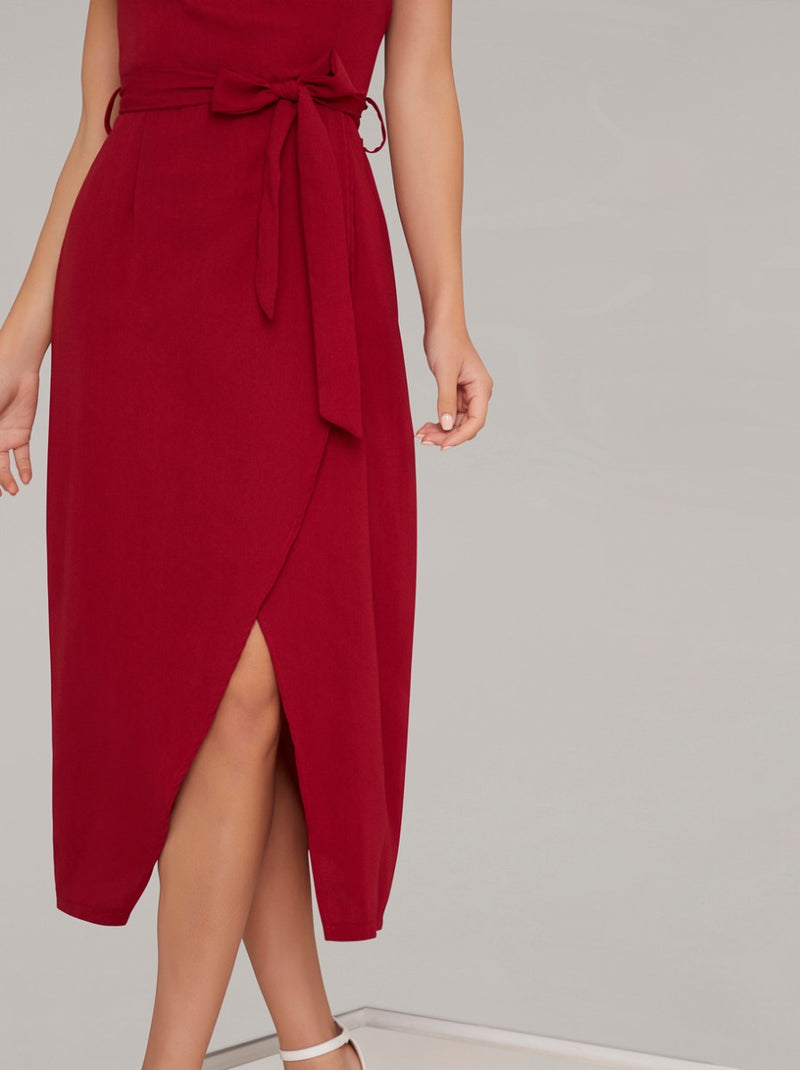 Wrap Detail Tulip Hem Midi Dress in Red
