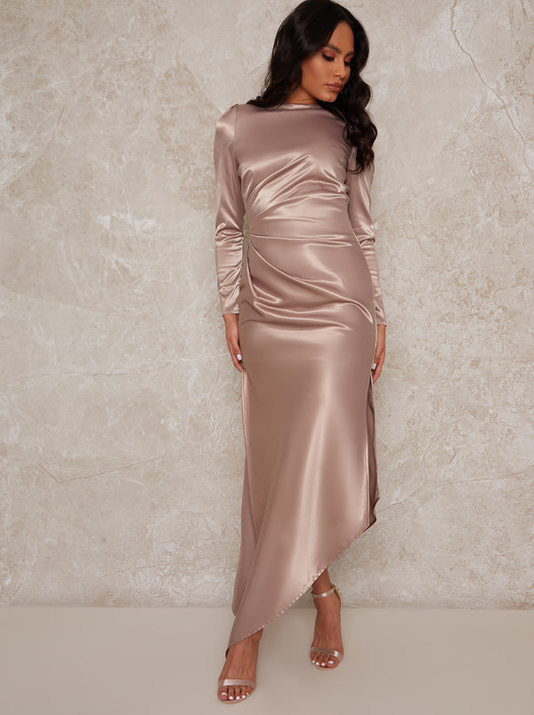 Long Sleeve Satin Asymmetric Maxi Dress in Champagne