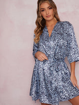 Satin Feel Animal Print Wrap Robe in Blue