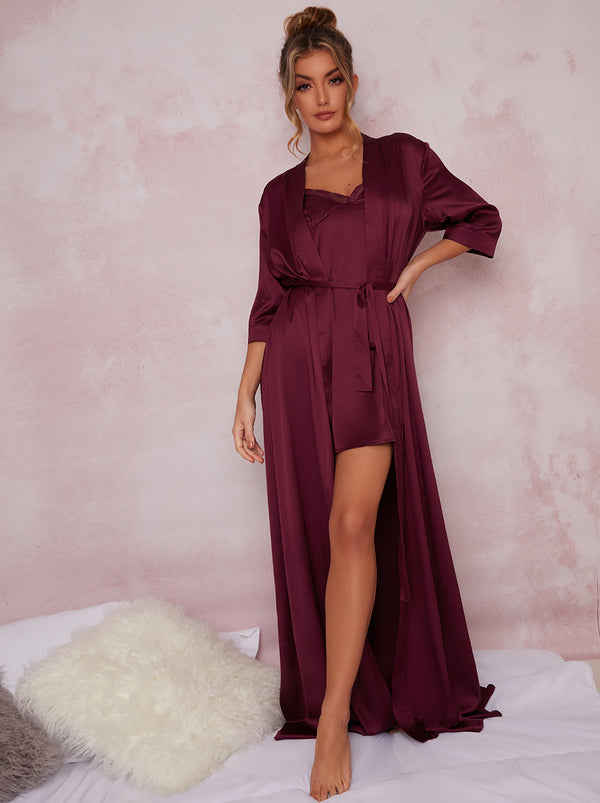 Satin Finish Maxi Robe In Purple