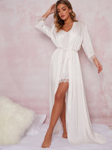 Bridal Maxi Length Lace Detail Robe In White