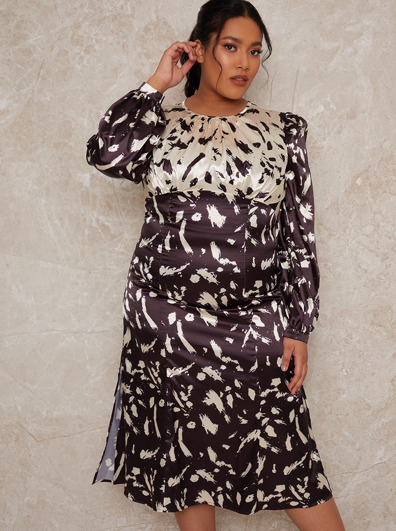 Plus Size Floral Satin Contrast Midi Dress in Mono
