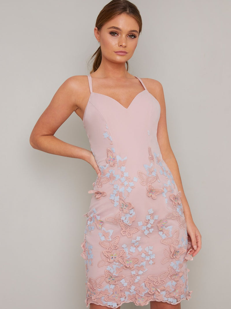 Cami Strap Lace Overlay Midi Dress in Pink