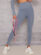 Mid Rise Sports Leggings with Body Contouring Design in Grey
