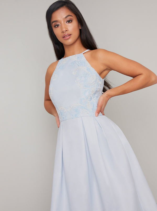 Petite Embroidered Bodice Dip Hem Midi Dress in Blue