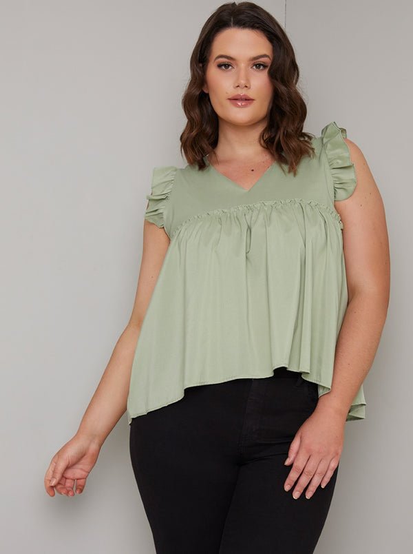 Plus Size Frill Detail Top in Green