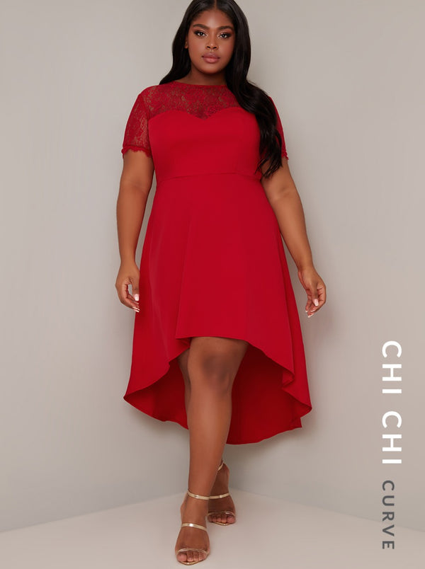 Plus Size Lace Sweatheart Dip Hem Midi Dress in Red