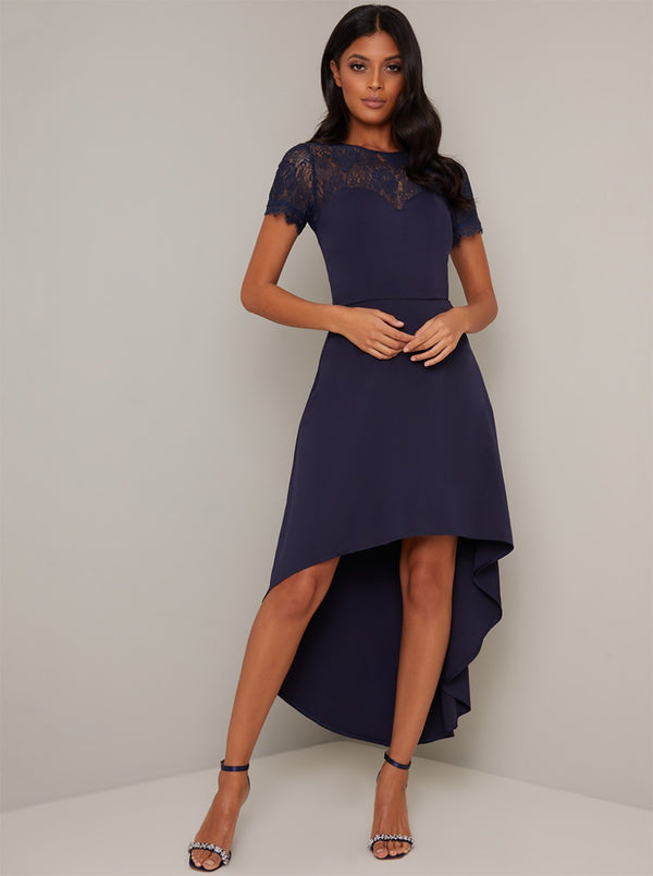 Sheer Lace Bodice Dip Hem Midi Dress in Blue