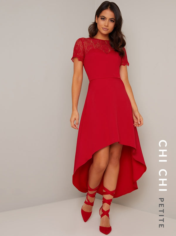 Petite Lace Bodice Sweetheart Dip Hem Midi Dress in Red