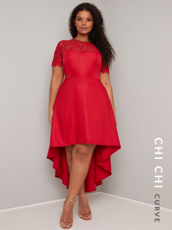 Plus Size Short Sleeved Lace Dip Hem Dress in Red