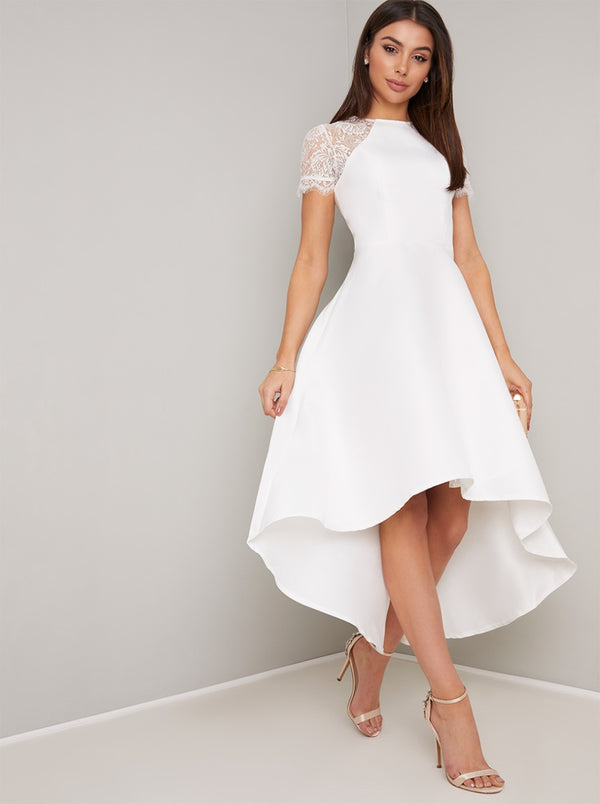 Sheer Lace Bodice Dip Hem Midi Dress in White