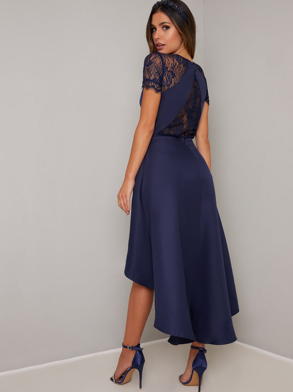 Dip Hem Lace Dress in Blue
