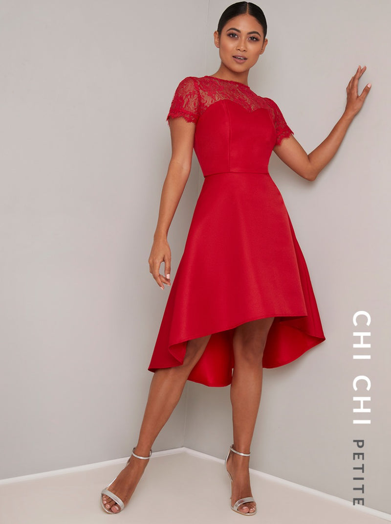 Petite Sheer Lace Sweetheart Dip Hem Midi Dress in Red