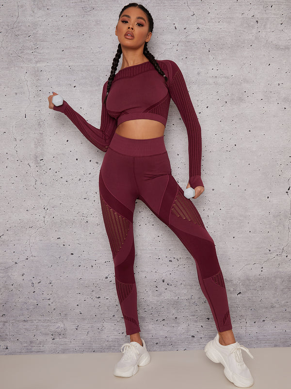 Long Sleeved Cropped Sports Top in Burgundy