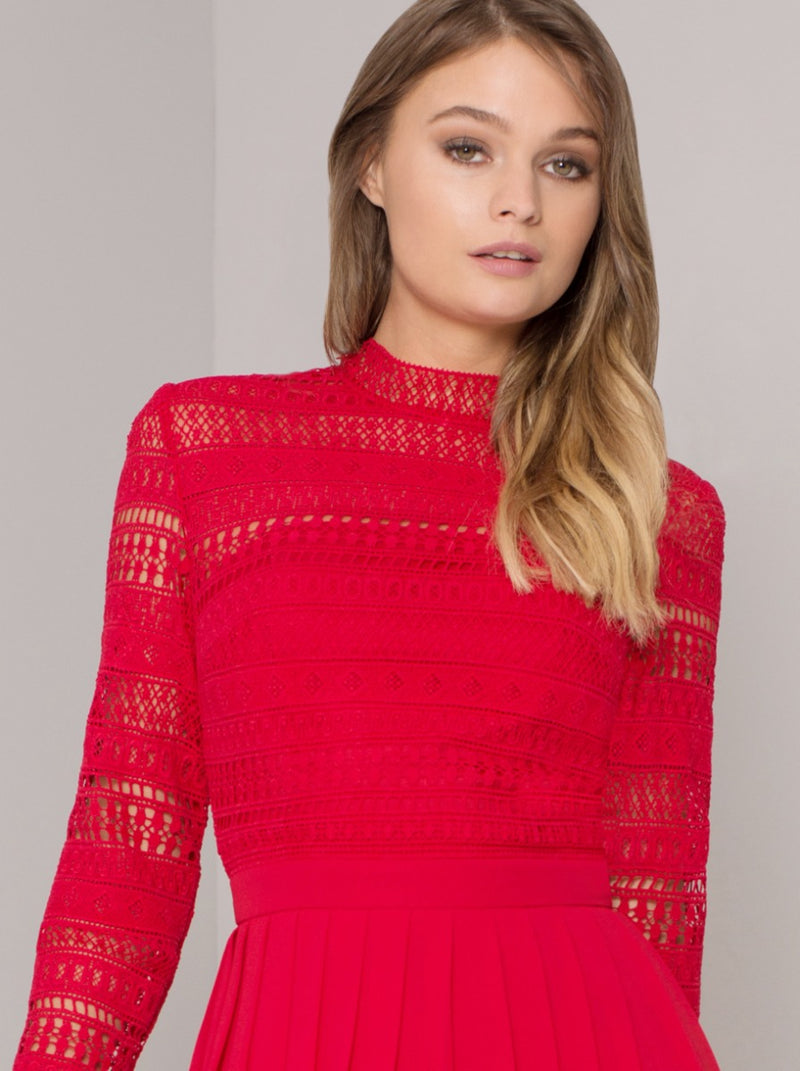 High Neck Long Sleeved Crochet Pleat Midi Dress in Red