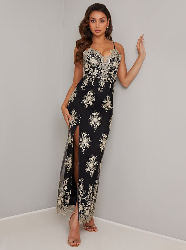 Cami Strap Lace Thigh Split Maxi Dress In Black