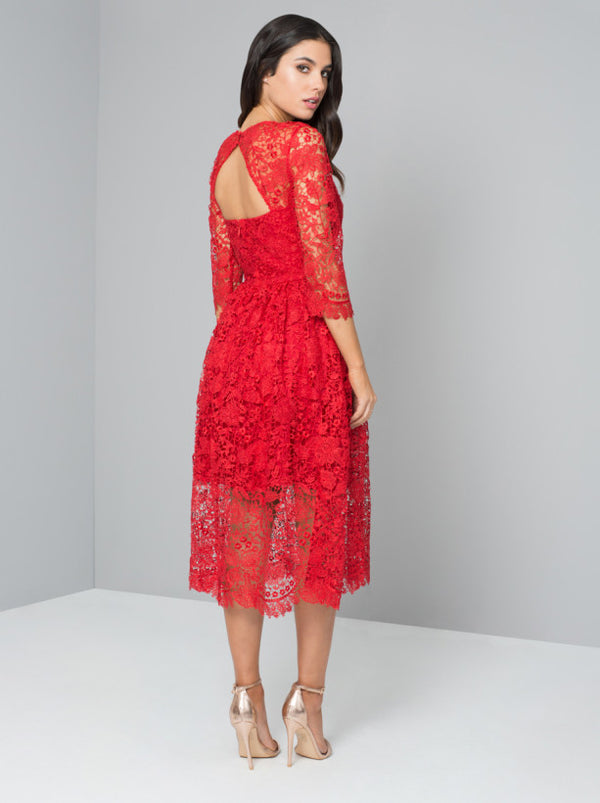 Crochet 3/4 Sleeved Midi Party Dress in Red