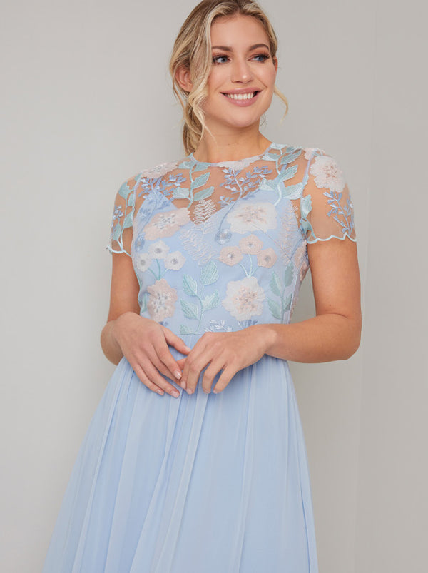 Cap Sleeve Embroidered Chiffon Midi Dress in Blue