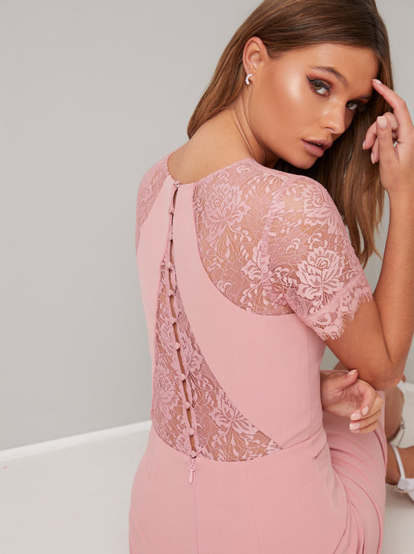 Sheer Lace Detail Bodycon Midi Dress in Pink