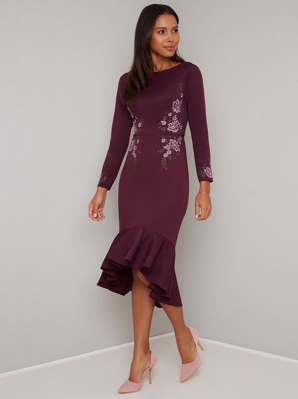 Embroidered Bodycon Peplum Dress in Plum