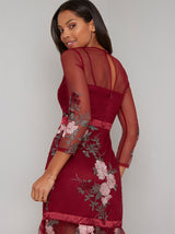 Sheer Sleeve Lace Peplum Hem Midi Dress in Red