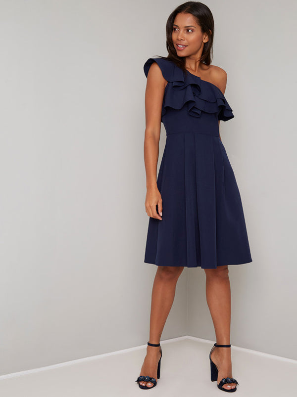 Ruffle One Shoulder Midi Dress In Blue