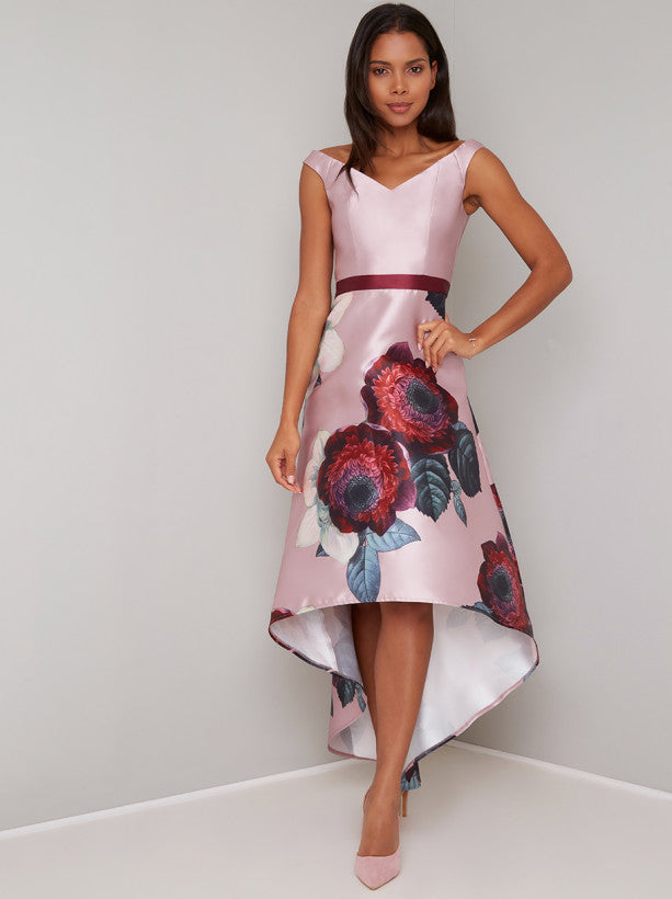 Digital Print Floral Dip Hem Midi Dress in Pink