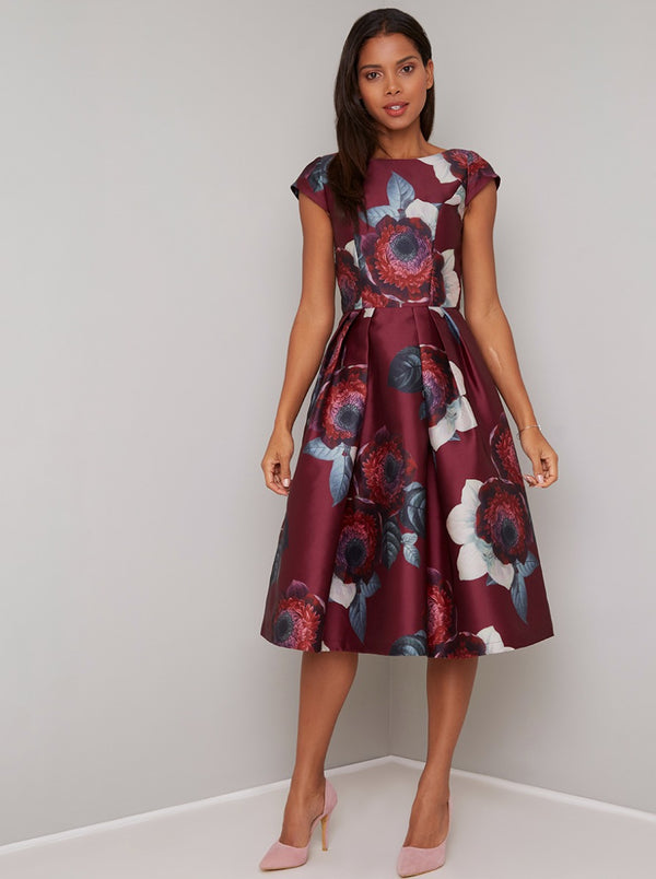 Floral Print Cap Sleeved Midi Dress in Red