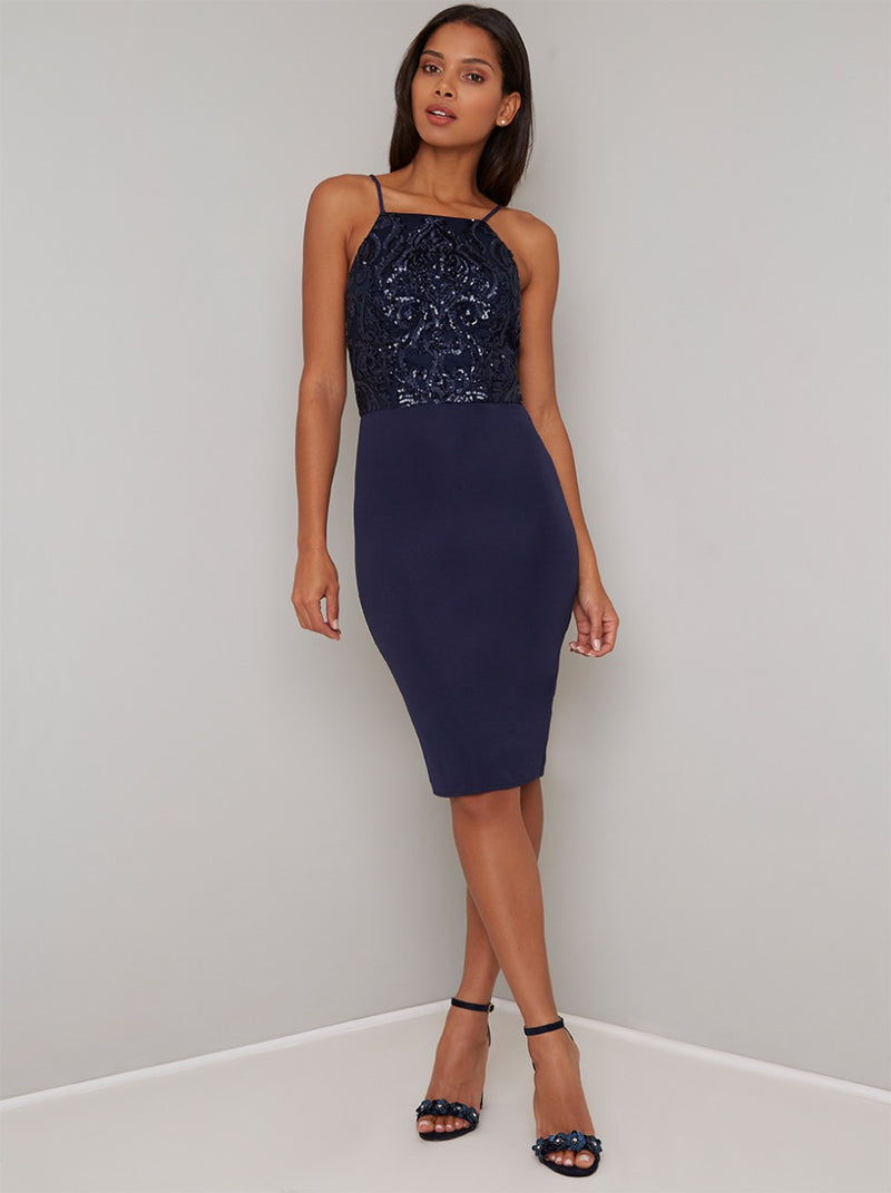 Sequinned Cami Strap Bodycon Midi Dress in Navy